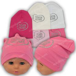 Трикотажные шапки для девочек с принтом, р. 48-50
