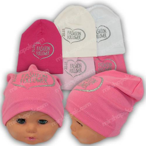 Трикотажные шапки для девочек с принтом, р. 48-50, Y123