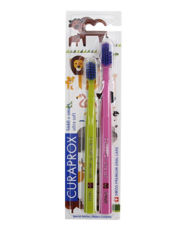 Набор: 1 зубная щетка Curaprox CS5460/2 Animal Family, Ultra Soft и 1 детская зубная щетка Smart