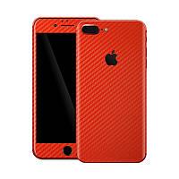 Красный Карбон на iPhone 8 Plus Виниловые Декоративные Наклейки Скин Защитная Пленка под Carbon Винил Стикер