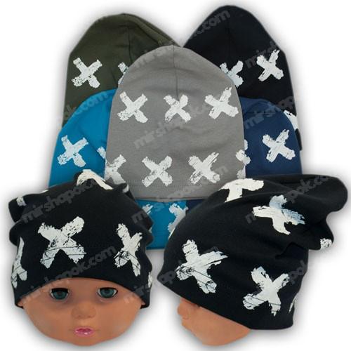 Трикотажные шапочки для мальчиков с принтом, р. 50-52