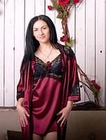 Шелковый женский пеньюар бордо