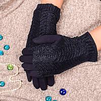 Женские перчатки синего цвета на меху с вязаными митенками Paidi 74-2 02-blue 8,5