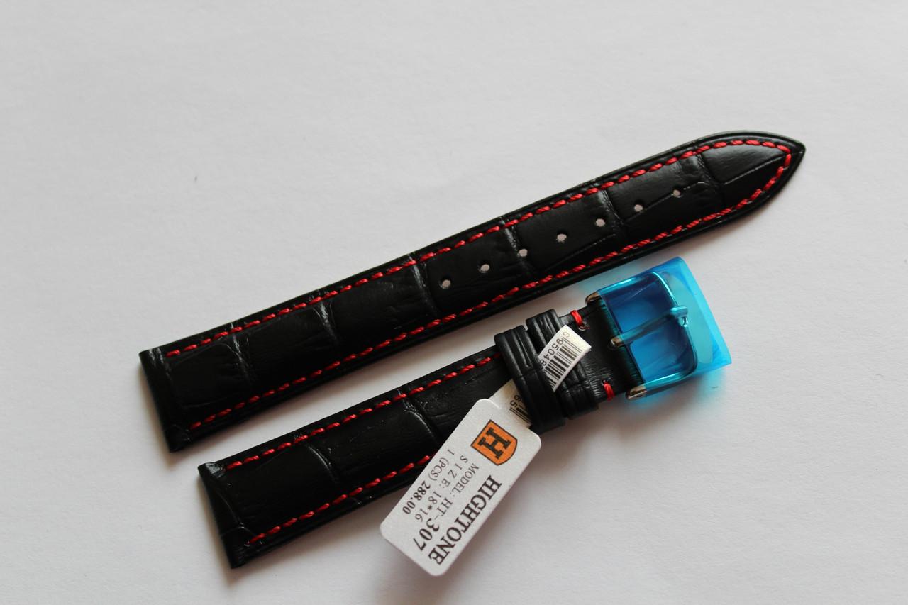 Кожаный ремень для  наручных часов HIGHTON-черный  выделкой под крокодил18мм с красной прошивкой