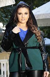 Пальто весеннее кашемировое+эко-кожа XL + (3 цвета)