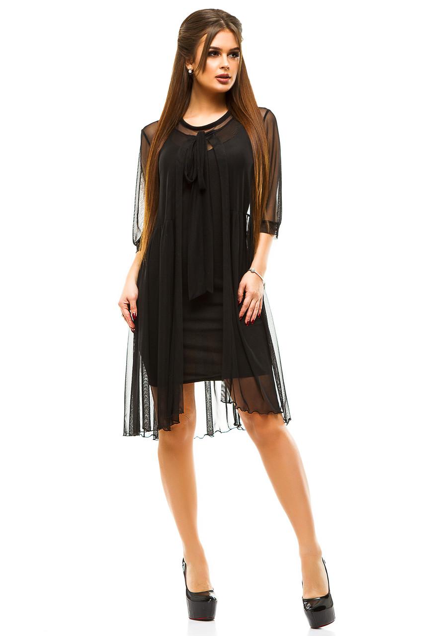 7e4e24cf863 Черное коктейльное платье с накидкой - Интернет магазин женской одежды  Olledar в Одессе
