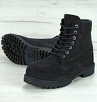 Зимние женские ботинки Timberland 6 inch black с мехом (Реплика ААА+)