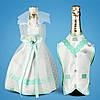 Украшение для свадебного шампанского, мятный цвет (арт. 2706-11)