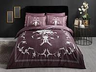 Постельное белье Tac Delux saten Castiel фиолетовый евро размер