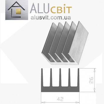 Радиаторный алюминиевый профиль 42х26 без покрытия (радиатор охлаждения), фото 2