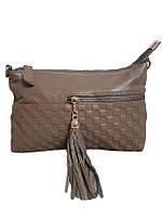 Кожаная женская сумочка с кармашком