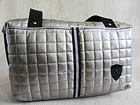 Стильная стеганная сумка кожзам серебро