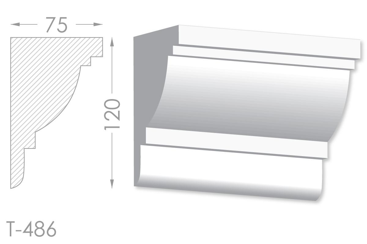 Карниз с гладким профилем, молдинг потолочный из гипса т-486