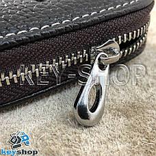 Ключница карманная (кожаная, коричневая, на молнии, с карабином, с кольцом), логотип авто Audi (Ауди), фото 2