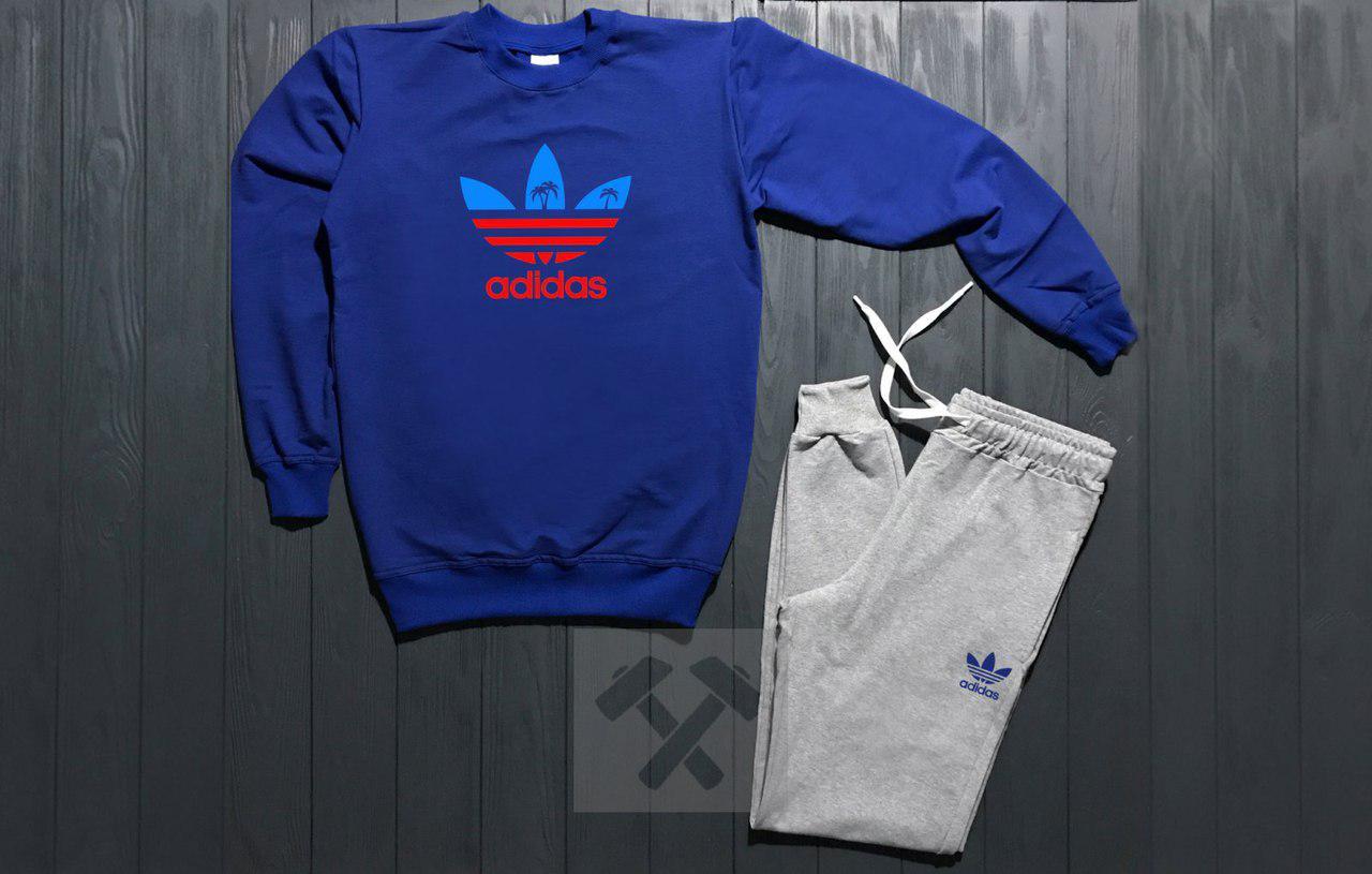 Костюм спортивный Adidas сине-серый топ реплика топ реплика