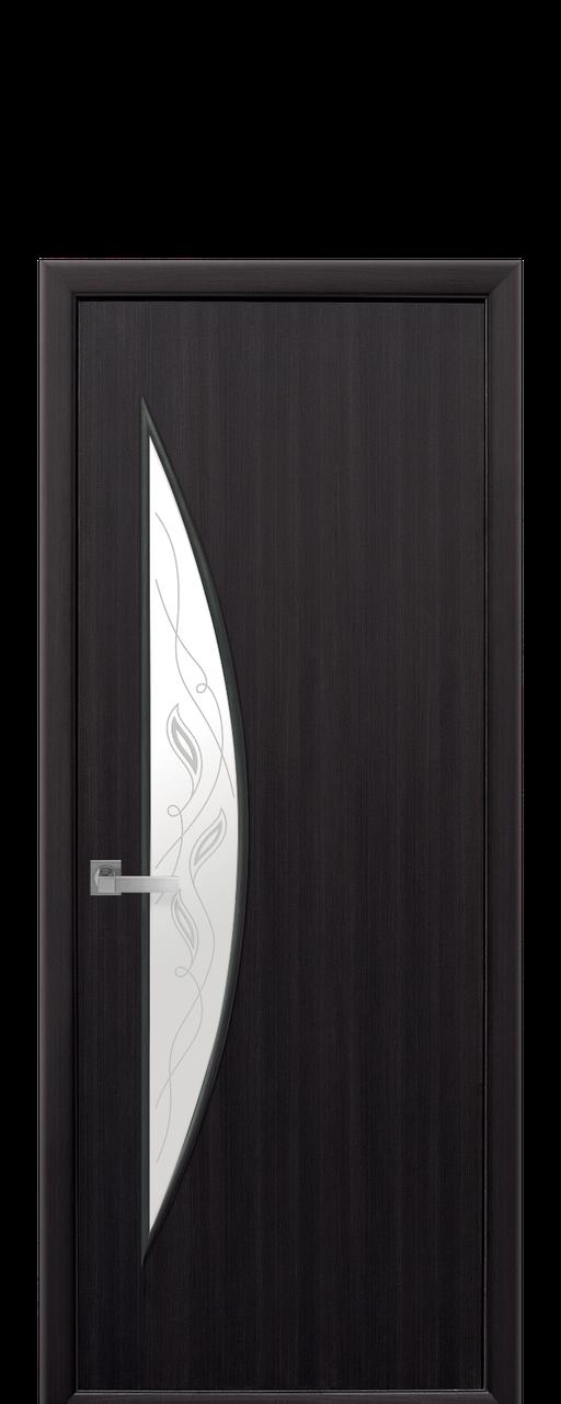 """Межкомнатные двери """"Луна"""" со стеклом сатин и рисунком"""