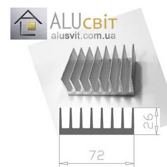 Радиаторный алюминиевый профиль  72х26 без покрытия (радиатор охлаждения), фото 2