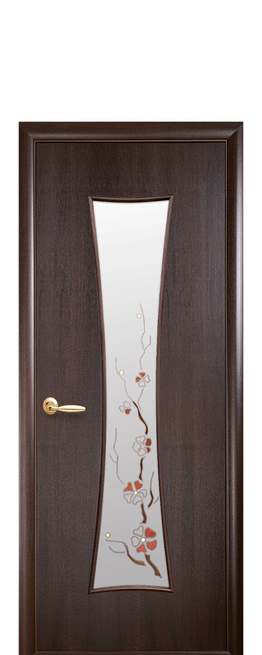 """Межкомнатные двери """"Часы"""" со стеклом сатин и цветным рисунком"""