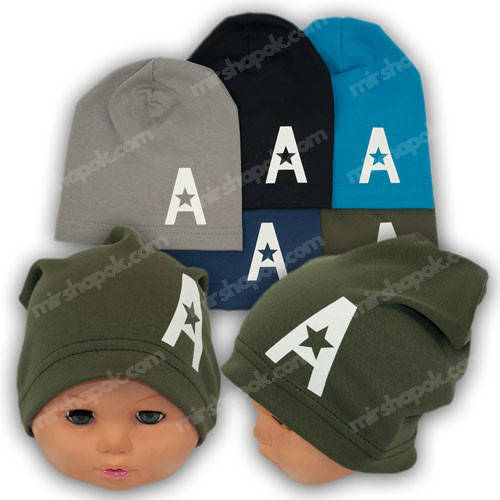 Модные трикотажные шапки с принтом, р. 50-52, Y131