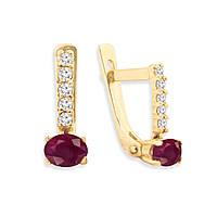 Золотые серьги с рубином и бриллиантами 0,12 карат