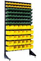 Стенд с контейнерами под крепеж и детали (93 ящика)