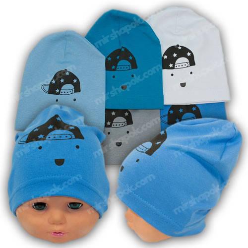 Трикотажные шапки детские с принтом, р. 44-46