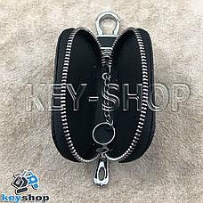 Ключница карманная (кожаная, черная, на молнии, с карабином, с кольцом), логотип авто Infiniti (Инфинити) , фото 3