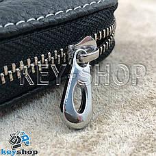 Ключница карманная (кожаная, черная, на молнии, с карабином, с кольцом), логотип авто Infiniti (Инфинити) , фото 2