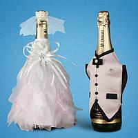 Украшение для свадебного шампанского, пудровый цвет (арт. 2706-24)