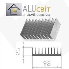 Радиаторный алюминиевый профиль  92х26 без покрытия (радиатор охлаждения)