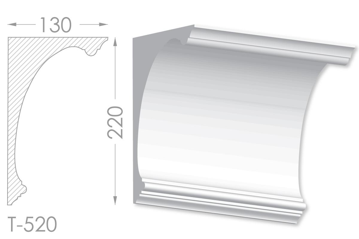 Карниз с гладким профилем, молдинг потолочный из гипса т-520