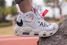 Мужские кроссовки Off-White x Nike Air More Uptempo On Feet White, фото 2