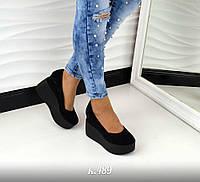 Модные женские черные туфли на черной танкетке натур замш