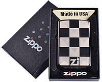 Зажигалка бензиновая Zippo (рисунок в виде шахмотной доски)  №4729-6, в подарочной упаковке
