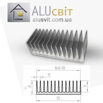 Радиаторный алюминиевый профиль 122х38 без покрытия (радиатор охлаждения), фото 2