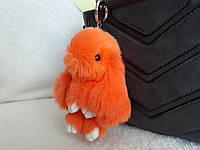 Меховой зайка, брелок кролик оранжевый