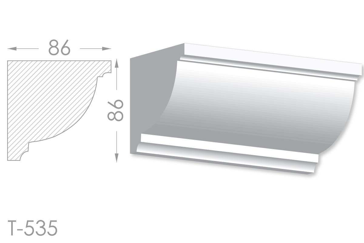 Карниз с гладким профилем, молдинг потолочный из гипса т-535