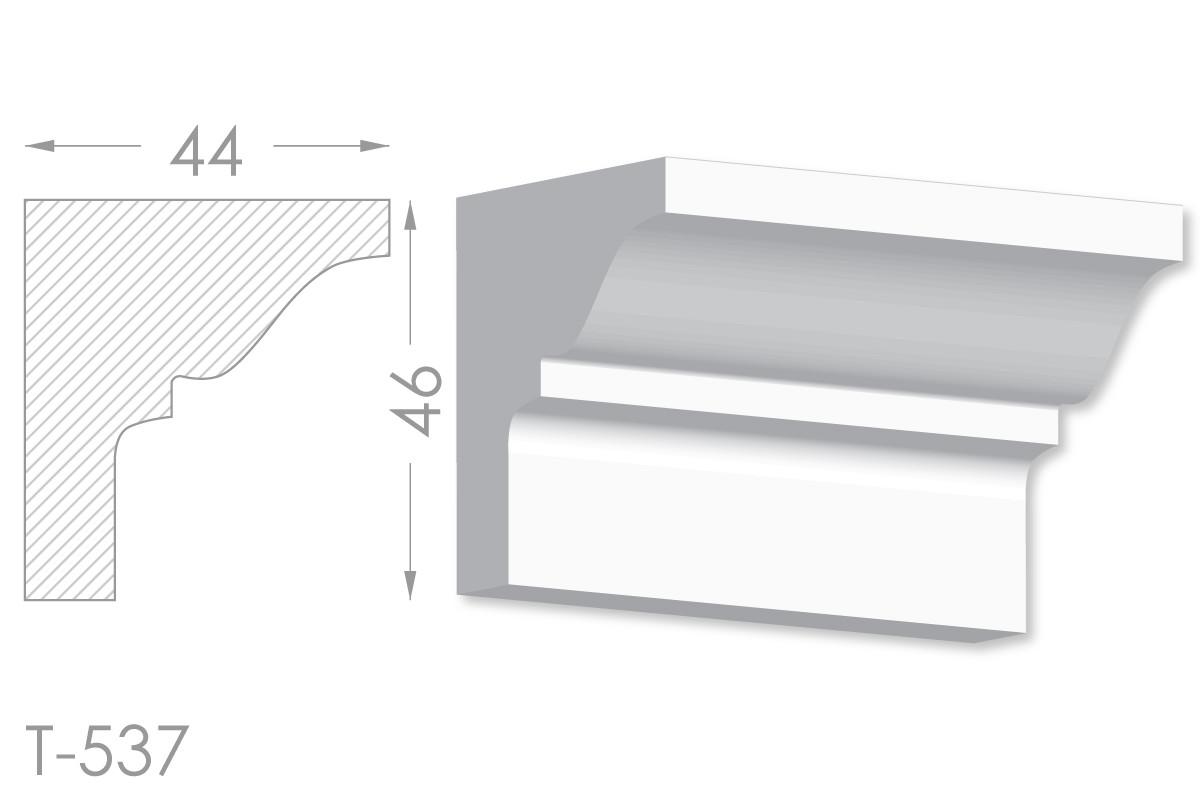 Карниз с гладким профилем, молдинг потолочный из гипса т-537