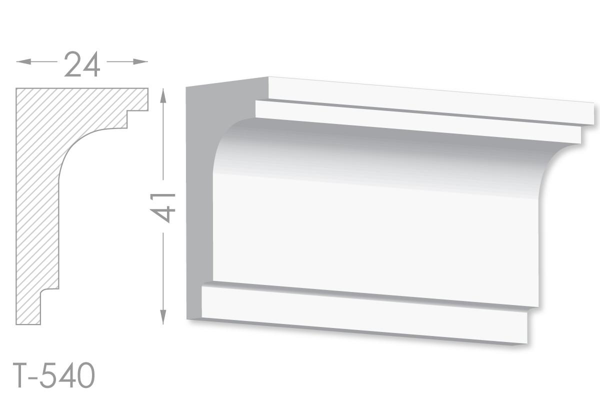 Карниз с гладким профилем, молдинг потолочный из гипса т-540