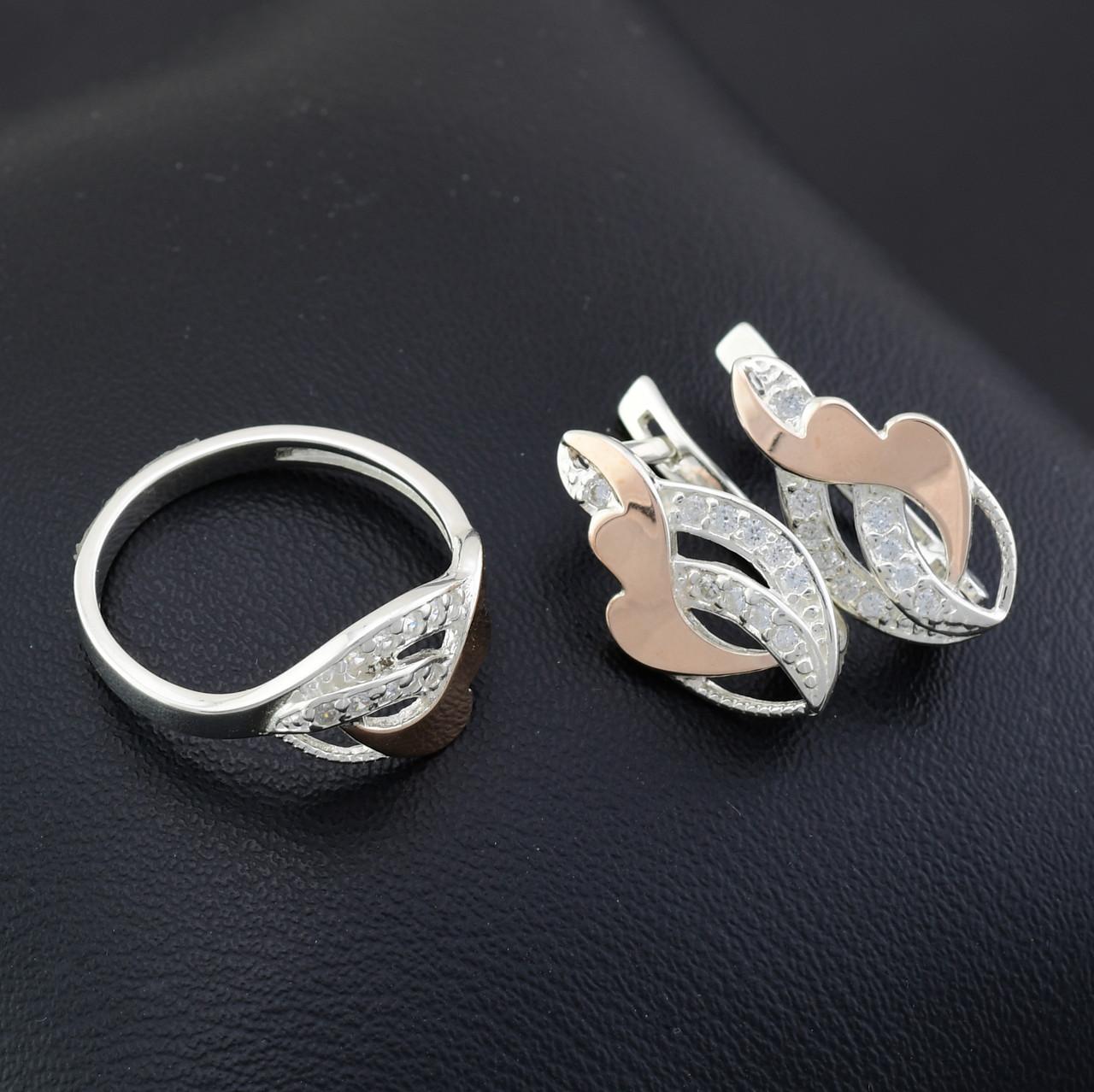 Серебряный набор с золотыми пластинами, кольцо размер 16.5 + серьги 20*11 мм