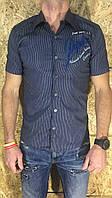 Рубашка мужская синяя с коротким рукавом ОПТ LV-201