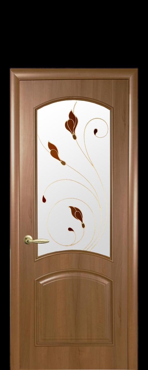 """Межкомнатные двери """"Антре"""" со стеклом сатин и цветным рисунком"""