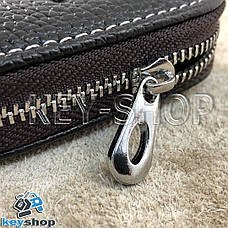 Ключница карманная (кожаная, коричневая, на молнии, с карабином, с кольцом), логотип авто Nissan (Ниссан) , фото 2