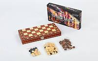 Шахматы, шашки, нарды 3 в 1 деревянные с магнитом, фигуры-дерево, р-р 34x34см. (W7703H)