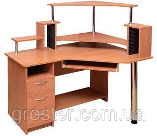 Угловой компьютерный стол Орфей с надстройкой. Стол для ПК в кабинет и офис