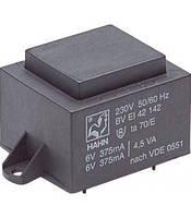Трансформатор 0.5 VA 230V, 2x9V 28mA 22x23x19 мм HAHN EI2020158