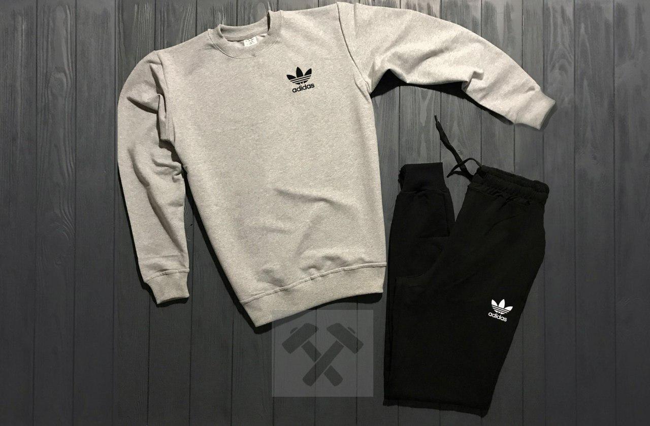 Костюм спортивный Adidas серо-черный топ реплика