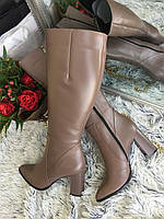 женские сапоги на каблуке евро-зима из натуральной кожи