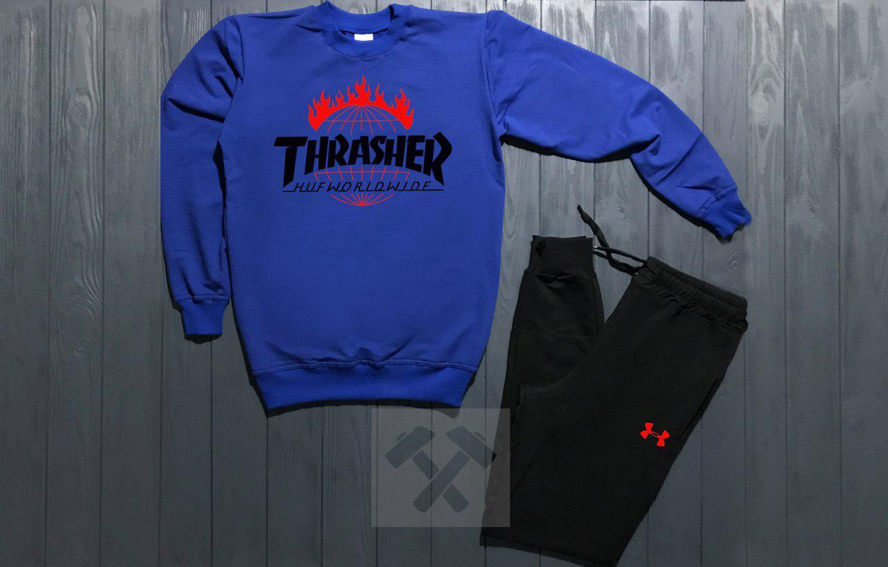 Костюм спортивный Trasher сине-черный топ реплика