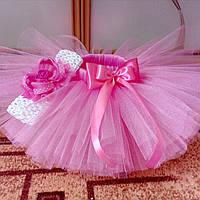 Набор: юбка- пачка и повязочка на голову розового цвета.